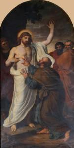 Szent Tamás apostol Jézus átszúrt Szívét érinti